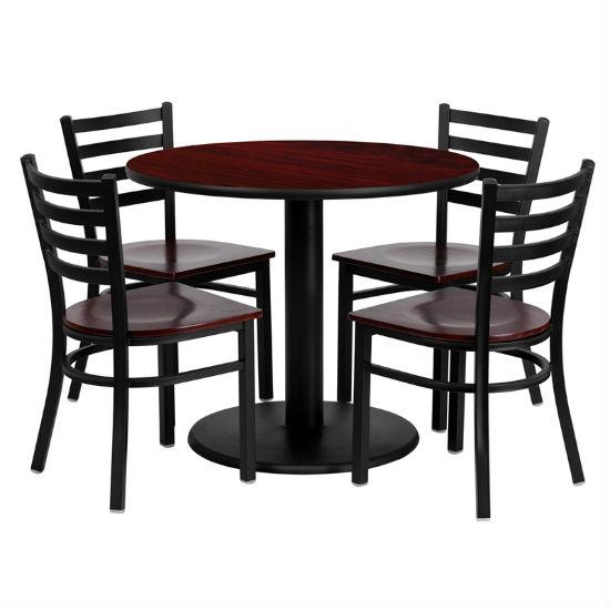 #83 - 36'' ROUND MAHOGANY LAMINATE TABLE SET WITH 4 LADDER BACK METAL CHAIRS - MAHOGANY WOOD SEAT
