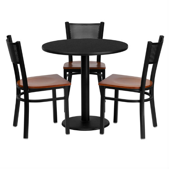 #86 - 30'' ROUND BLACK LAMINATE TABLE SET WITH 3 GRID BACK METAL CHAIRS - CHERRY WOOD SEAT