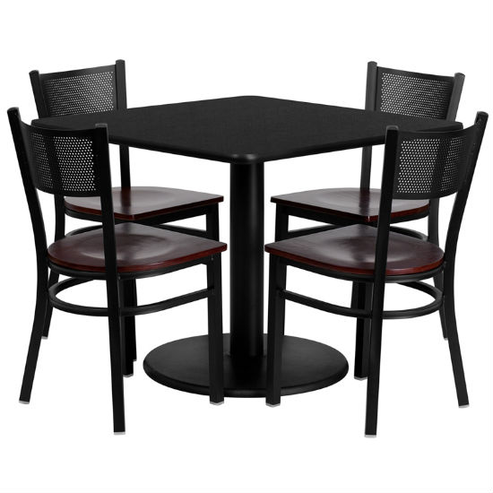 #87 - 36'' SQUARE BLACK LAMINATE TABLE SET WITH 4 GRID BACK METAL CHAIRS - MAHOGANY WOOD SEAT