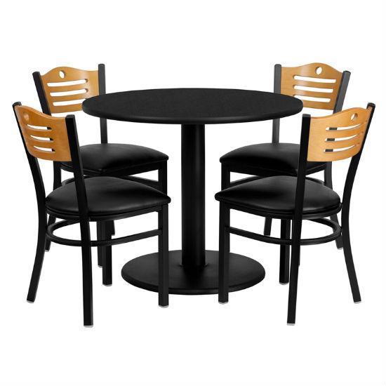 #88 - 36'' ROUND BLACK LAMINATE TABLE SET WITH 4 WOOD SLAT BACK METAL CHAIRS - BLACK VINYL SEAT