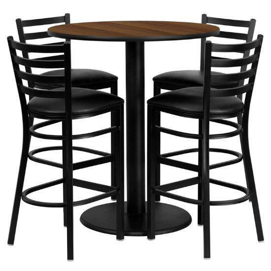 #90 - 36'' ROUND WALNUT LAMINATE TABLE SET WITH 4 LADDER BACK METAL BAR STOOLS - BLACK VINYL SEAT