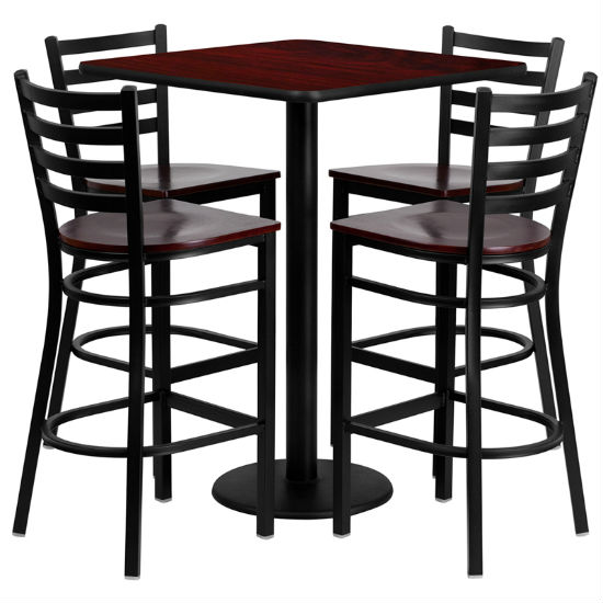 #93 - 30'' SQUARE MAHOGANY LAMINATE TABLE SET WITH 4 LADDER BACK METAL BAR STOOLS - MAHOGANY WOOD SEAT