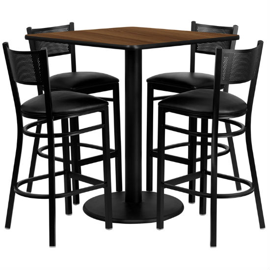 #94 - 36'' SQUARE WALNUT LAMINATE TABLE SET WITH 4 GRID BACK METAL BAR STOOLS - BLACK VINYL SEAT
