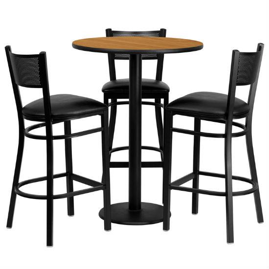 #95 - 30'' ROUND NATURAL LAMINATE TABLE SET WITH 3 GRID BACK METAL BAR STOOLS - BLACK VINYL SEAT