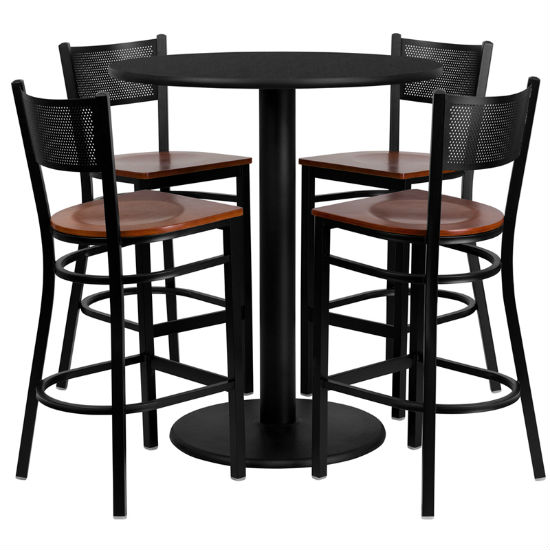 #97 - 36'' ROUND BLACK LAMINATE TABLE SET WITH 4 GRID BACK METAL BAR STOOLS - CHERRY WOOD SEAT