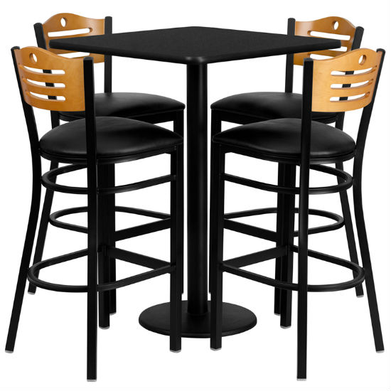 #98 - 30'' SQUARE BLACK LAMINATE TABLE SET WITH 4 WOOD SLAT BACK METAL BAR STOOLS - BLACK VINYL SEAT