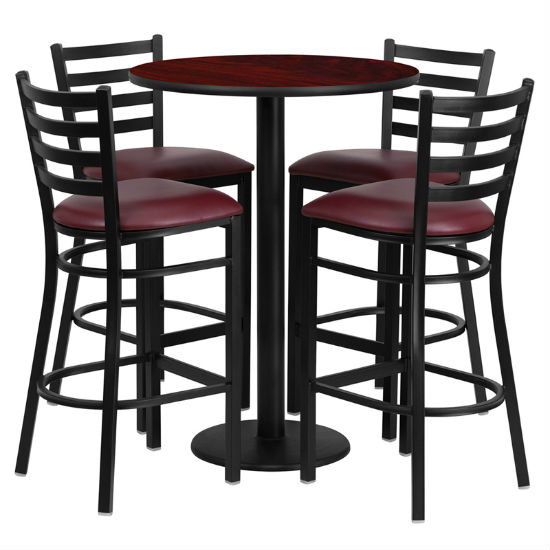 #52 - 30'' ROUND MAHOGANY LAMINATE TABLE SET WITH 4 LADDER BACK METAL BAR STOOLS - BURGUNDY VINYL SEAT