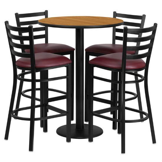 #54 - 30'' ROUND NATURAL LAMINATE TABLE SET WITH 4 LADDER BACK METAL BAR STOOLS - BURGUNDY VINYL SEAT