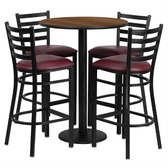 #56 - 30'' ROUND WALNUT LAMINATE TABLE SET WITH 4 LADDER BACK METAL BAR STOOLS - BURGUNDY VINYL SEAT