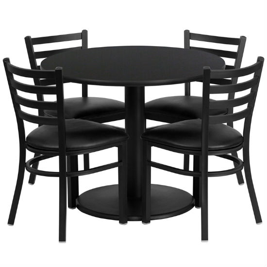 #58 - 36'' ROUND BLACK LAMINATE TABLE SET WITH 4 LADDER BACK METAL CHAIRS - BLACK VINYL SEAT