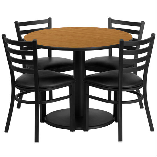 #62 - 36'' ROUND NATURAL LAMINATE TABLE SET WITH 4 LADDER BACK METAL CHAIRS - BLACK VINYL SEAT