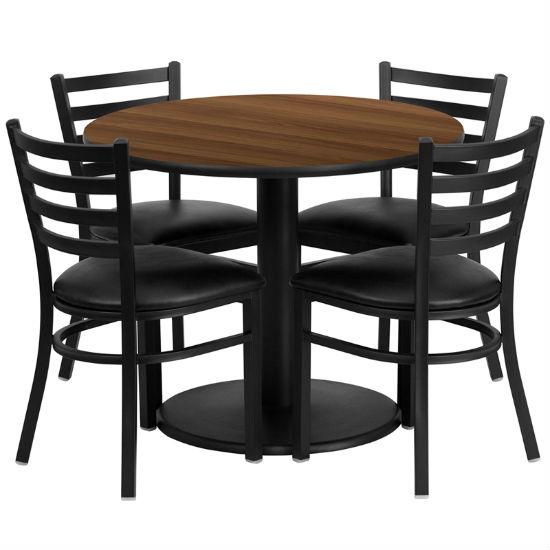 #64 - 36'' ROUND WALNUT LAMINATE TABLE SET WITH 4 LADDER BACK METAL CHAIRS - BLACK VINYL SEAT