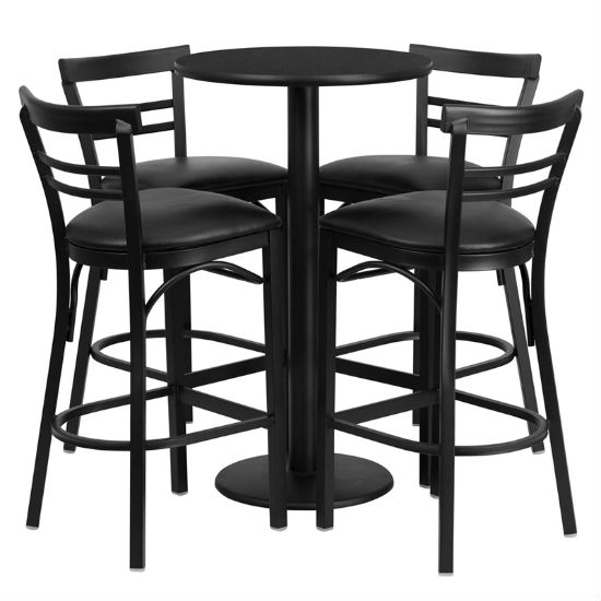 #66 - 24'' ROUND BLACK LAMINATE TABLE SET WITH 4 LADDER BACK BAR STOOLS - BLACK VINYL SEAT