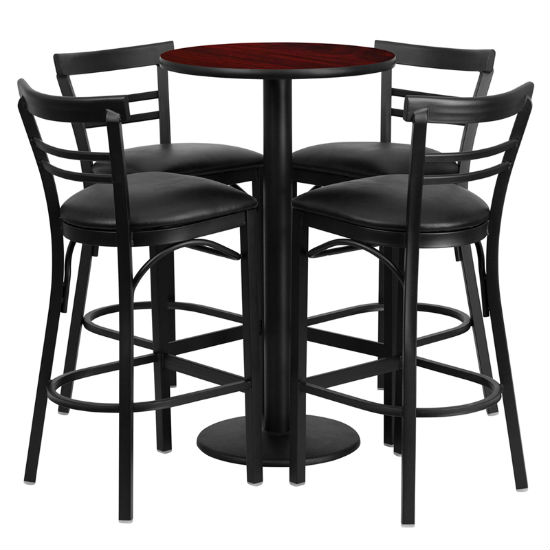 #68 - 24'' ROUND MAHOGANY LAMINATE TABLE SET WITH 4 LADDER BACK BAR STOOLS - BLACK VINYL SEAT