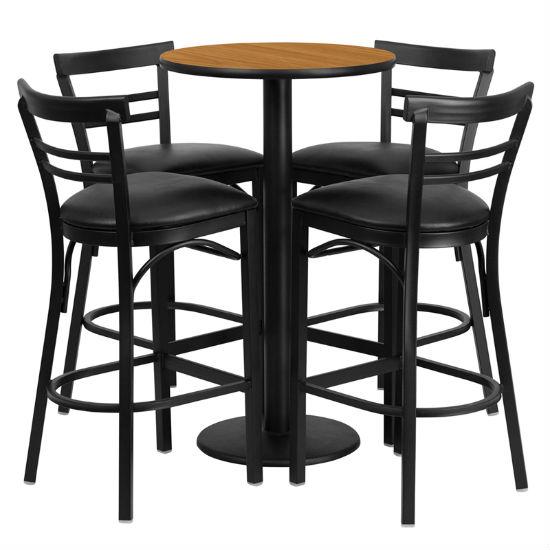 #70 - 24'' ROUND NATURAL LAMINATE TABLE SET WITH 4 LADDER BACK METAL BAR STOOLS - BLACK VINYL SEAT