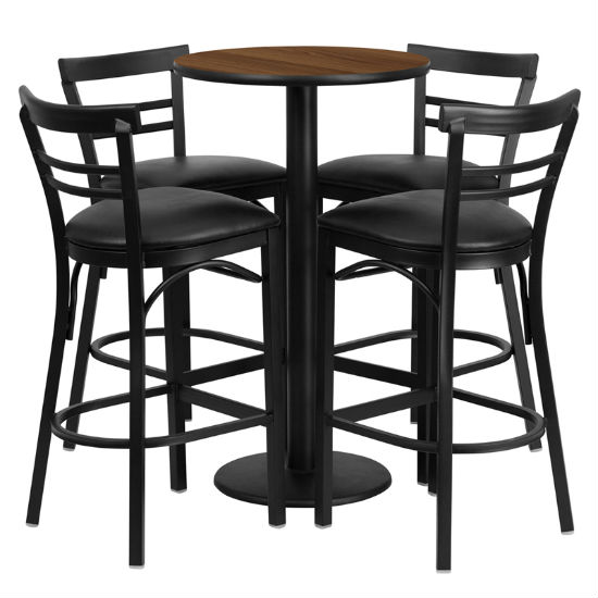 #72 - 24'' ROUND WALNUT LAMINATE TABLE SET WITH 4 LADDER BACK BAR STOOLS - BLACK VINYL SEAT