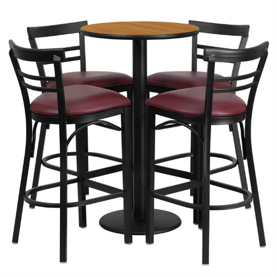 #78 - 24'' ROUND NATURAL LAMINATE TABLE SET WITH 4 LADDER BACK METAL BAR STOOLS - BURGUNDY VINYL SEAT