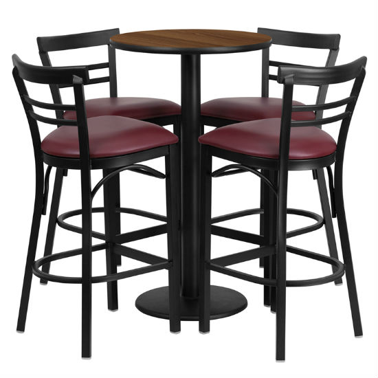 #80 - 24'' ROUND WALNUT LAMINATE TABLE SET WITH 4 LADDER BACK METAL BAR STOOLS - BURGUNDY VINYL SEAT