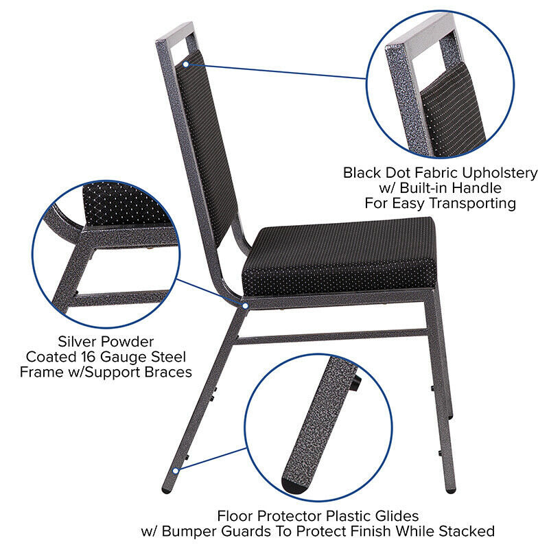 #58 - Square Back Stacking Banquet Chair in Black Dot Fabric with Silvervein Frame