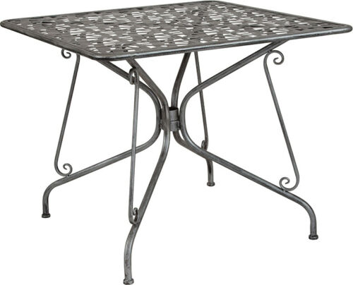 "#233 - 35.25"" Square Antique Silver Steel Outdoor Restaurant Table Set w/ 4 Stack Chair"