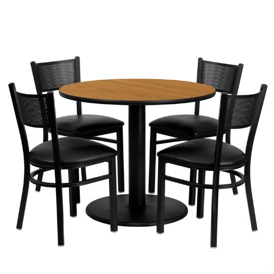 #85 - 36'' ROUND NATURAL LAMINATE TABLE SET WITH 4 GRID BACK METAL CHAIRS - BLACK VINYL SEAT