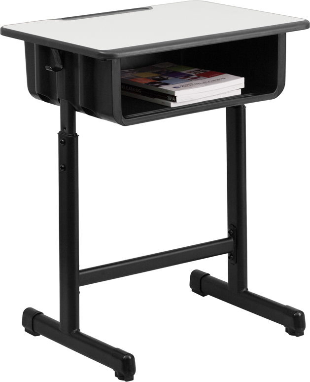 #1 - STUDENT DESK WITH GREY TOP AND ADJUSTABLE HEIGHT BLACK PEDESTAL FRAME