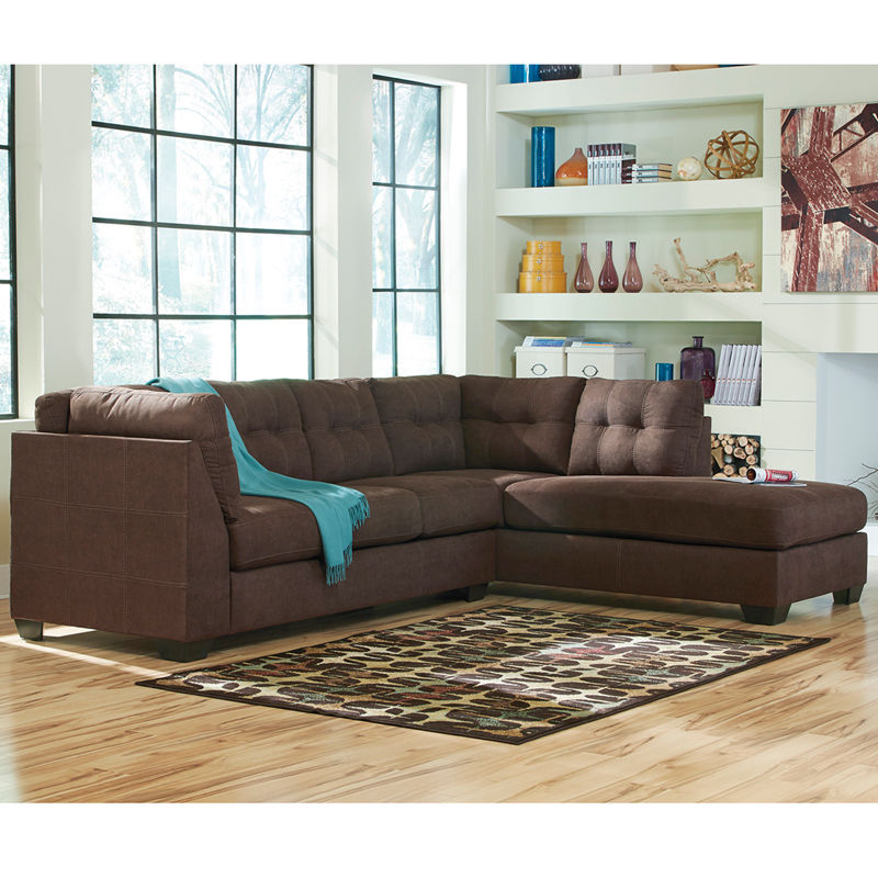 #21 - Benchcraft Maier Sectional with Right Side Facing Chaise in Walnut Microfiber